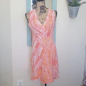 Calvin Klein Coral, Pink, Orange V neck Dress